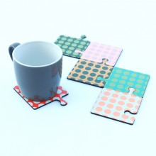 Puzzle coasters and hot plate
