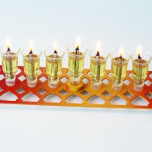 Rectangle Hanukkah Menora- Red, Yellow, Orange