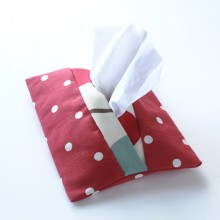 Tissue Holder- Red & White polka-dot
