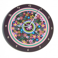 Flowers and brown frame wall clock