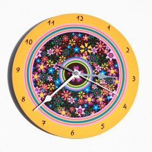Flowers and mustard frame wall clock