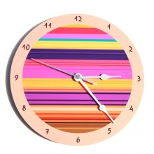 Pink & purple striped wall clock