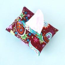 Dark pink with paisley design- Tissue holder