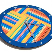 Blue striped wall clock