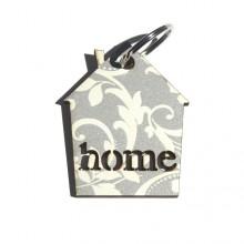 מחזיק מפתחות בדוגמת פרחים על רקע אפור-home