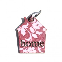 מחזיק מפתחות בורדו פרחים- home