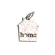מחזיק מפתחות בדוגמת פרחים עדינים על רקע לבן-home