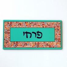 Door Sign-Turquoise & Flowers