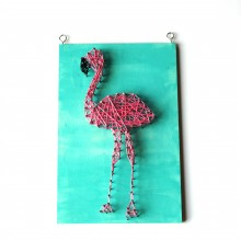 A flamingo DIY string art kit