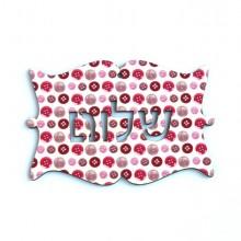 שלט מילים בעברית שלום כפתורים בורוד ואדום
