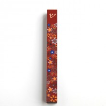 Mezuzah narrow case-Flowers-Red