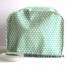Mixer cover- Turquoise & gray triangles