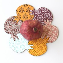 Pomegranate coasters & Trivet