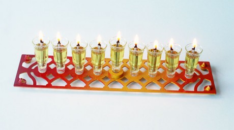 Rectangle Hanukkah Menora- Red, Yellow, Orange