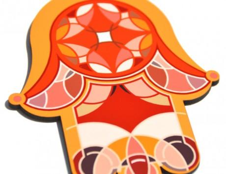 Hamsa- Orange & Yellow Vitrage