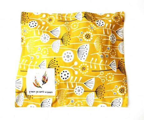 כיסוי מעוצב לחלות שבת צהוב-חרדל פרחי שדה