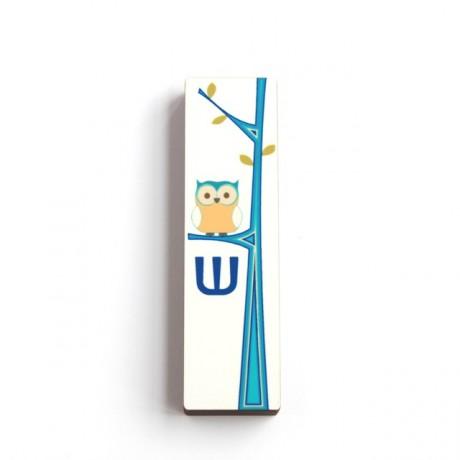מזוזה לחדר ילדים מעוצב ינשוף כחול לבן