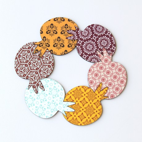 Pomegranate coasters for Rosh Ha'shana